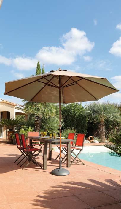 Parasol bois 300 cm diamètre mètres proloisirs ambiance