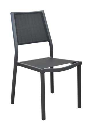 Salon de jardin Soto 180 grise avec chaises florence noires