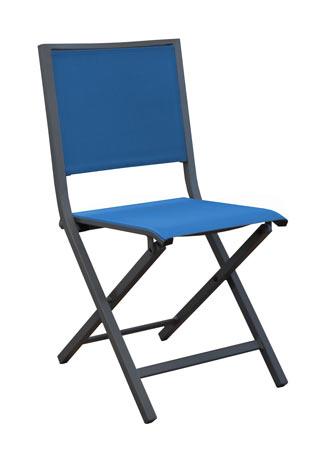 Salon de jardin PROLOISIRS Table Valencia 206 cm grise + 6 chaises IDA pliantes bleues