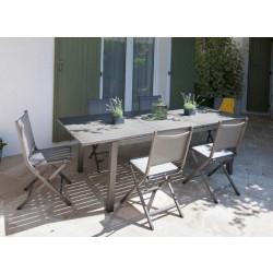 Salon de jardin Trieste 180/240 ice + 6 chaises pliantes thema brush Alizé