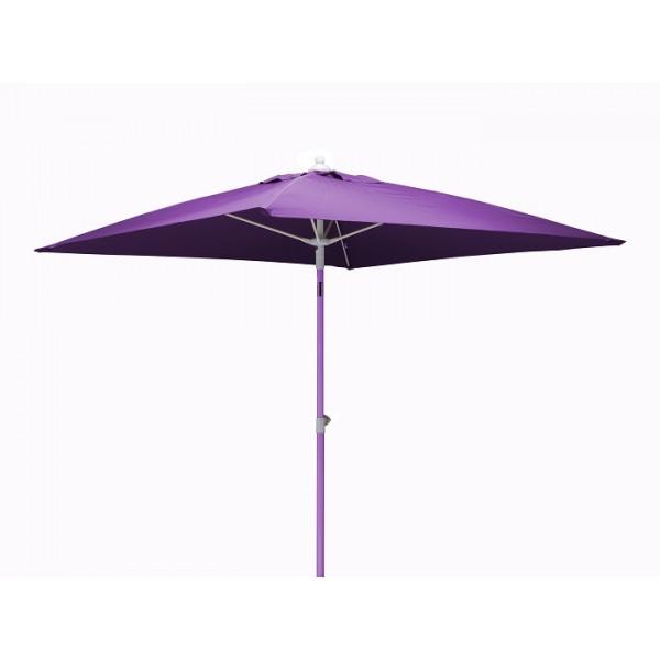 Parasol inclinable 2x2m en aluminium PROLOISIRS Fibre de Verre-Violet