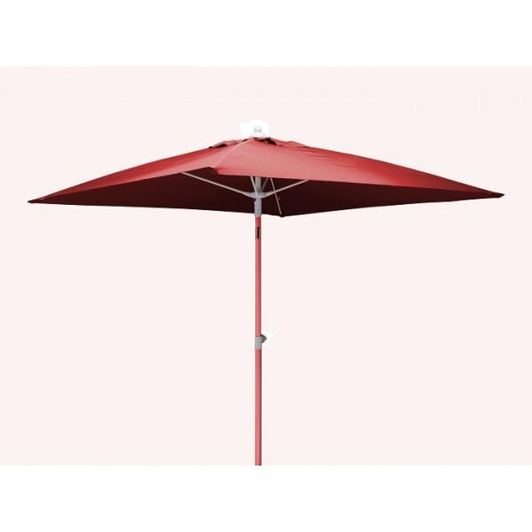 Parasol inclinable 2x2m en aluminium PROLOISIRS Fibre de Verre-Rouge