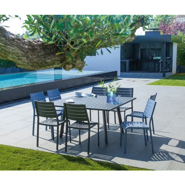 Ensemble repas Table Barcelona 145 Grise + 6 Chaises Flower