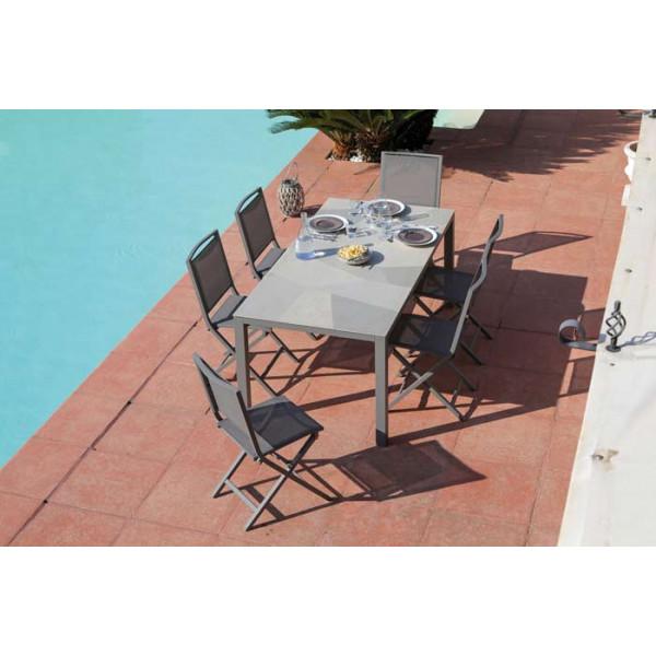 Salon de jardin PROLOISIRS Table Bavella 180 Mozaïque + 6 chaises IDA pliantes taupes
