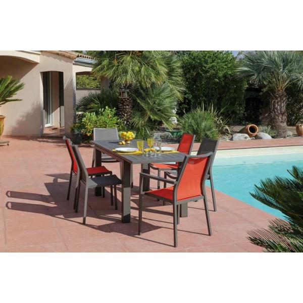 Salon de jardin PROLOISIRS Table ELISA 140/200 café + 6 chaises IDA Paprika