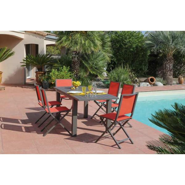 Salon de jardin PROLOISIRS Table ELISA 140/200 café + 6 chaises pliantes IDA Paprika