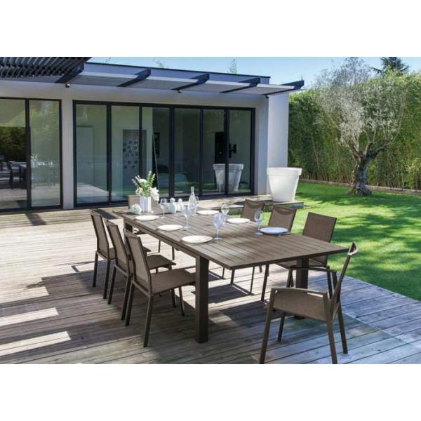 Salon de jardin PROLOISIRS Table ELISA 180/240 Café + 6 fauteuils PALMA Café