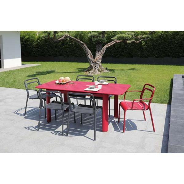 Salon de jardin PROLOISIRS Table EOS 130/180 rouge + 6 fauteuils EOS ...