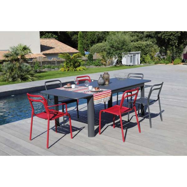 Salon de jardin PROLOISIRS Table EOS 180/240 graphite + 6 chaises EOS rouges