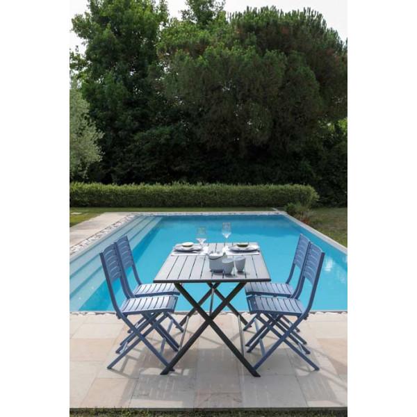 Salon de jardin PROLOISIRS table Guéridon Globe 160 cm Gris + 4 chaises LUCCA Cobalt