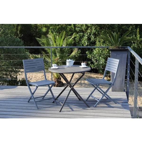 Salon de jardin PROLOISIRS table Guéridon Globe Ø80 café + 2 chaises LUCCA pliantes Cobalt