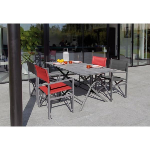 Ensemble repas Table Azuro 160 grise + 4 Fauteuils Régisseur PROLOISIRS (2 Rouges / 2 Noirs)
