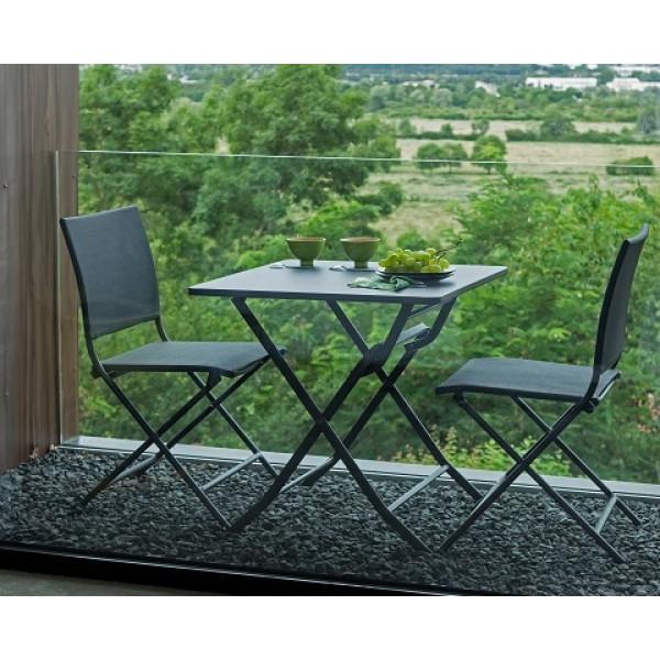 Ensemble repas Table Nonza 70x70 Grise + 2 Chaises Globe Pliantes Grises PROLOISIRS
