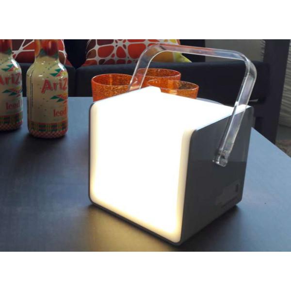 Lampe cube PROLOISIRS avec haut parleur 5W 120 lumens grise