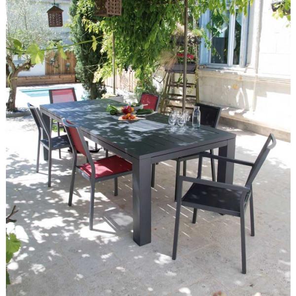 Salon de jardin Latino 180/240 grise + 6 fauteuils Florence rouges Alizé