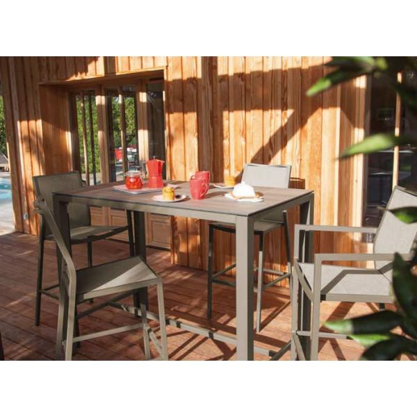 Salon de jardin PROLOISIRS Mange Debout STONEO Café + 4 chaises hautes IDA café
