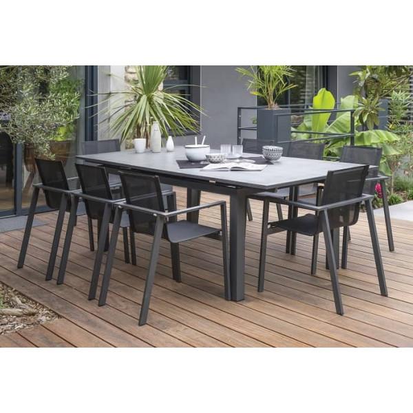 Table De Jardin En Pierre.Salon De Jardin Dcb Miami Aspect Pierre 240 300 Cm 8 Personnes