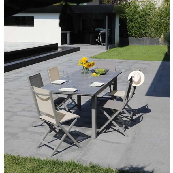 Salon de jardin Moora 160/210 taupe + 6 chaises pliantes thema taupes Alizé