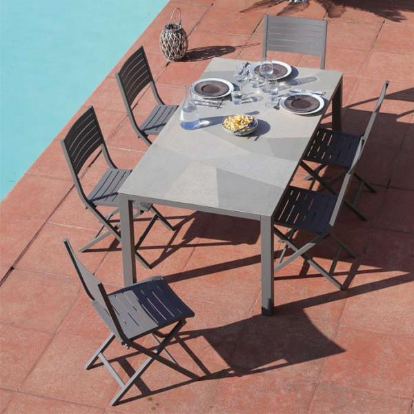 Salon de jardin PROLOISIRS Table Bavella 180 Mozaïque + 6 chaises LUCCA pliantes taupes