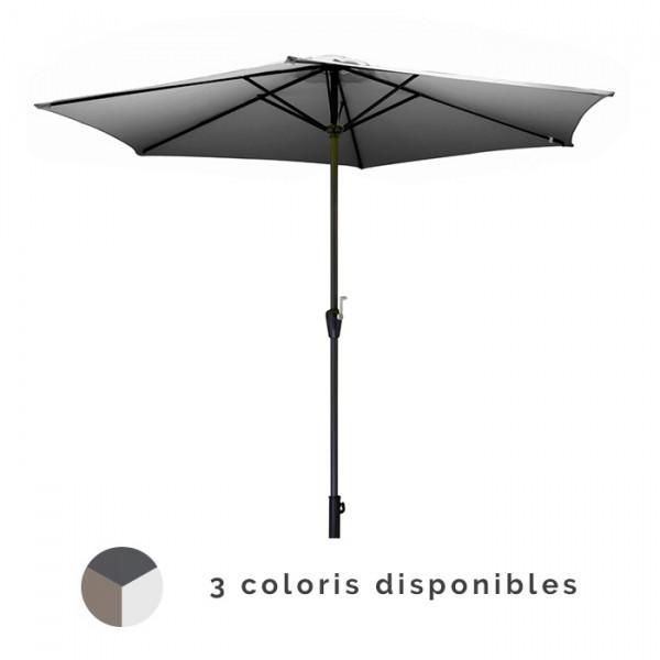 Parasol droit Ø350cm en bois PROLOISIRS Manivelle