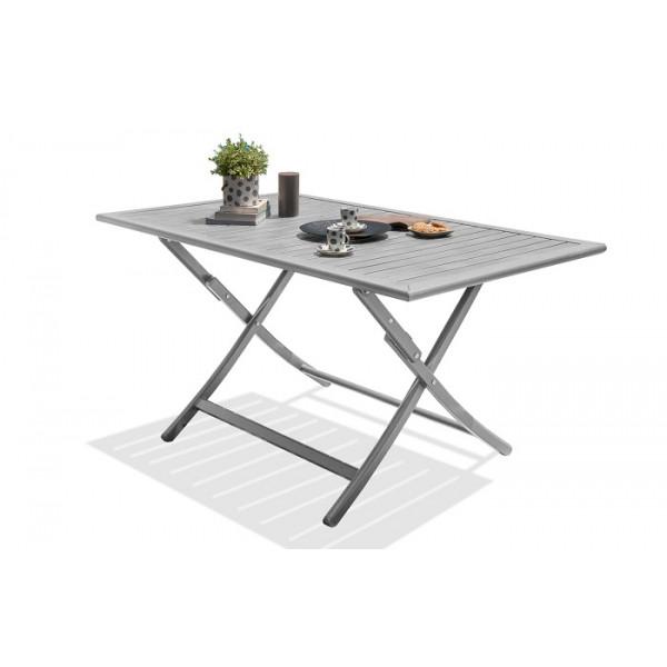 Table pliante MARIUS 140x80 cm en aluminium - Grise