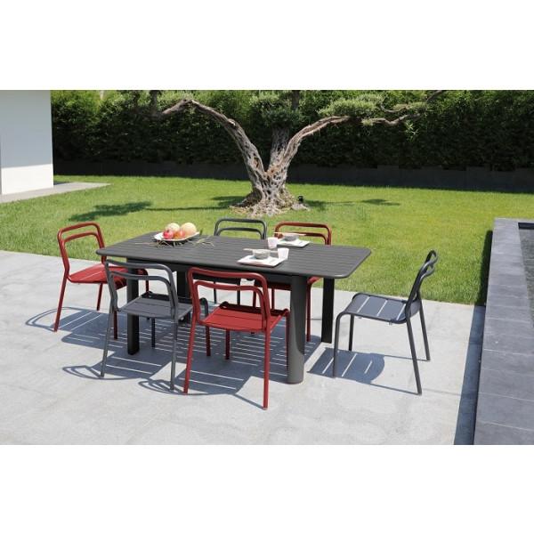 Salon de jardin PROLOISIRS Table EOS 130/180 graphite + 6 chaises EOS rouges