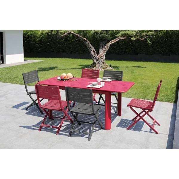 Salon de jardin PROLOISIRS Table EOS 130/180 rouge + 6 chaises LUCCA rouges