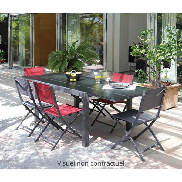 Salon de jardin gris Alizé Elise 140/240 cm + 6 chaises Dream grises