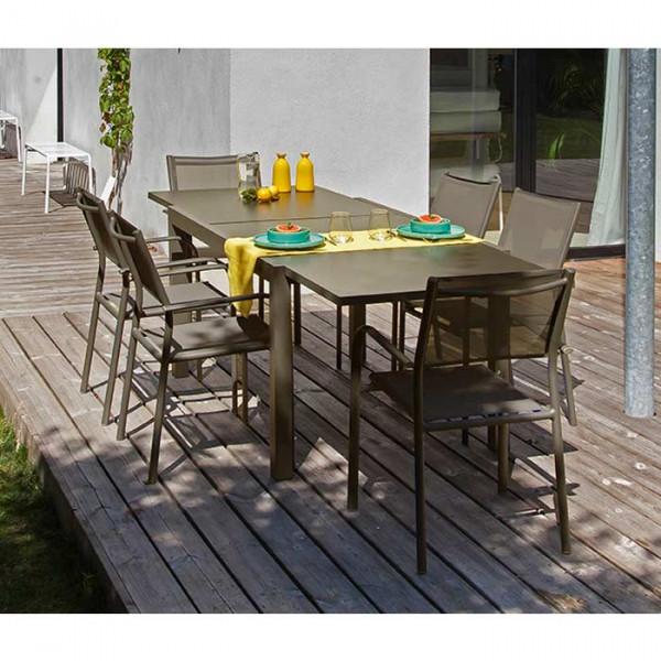 Salon de jardin café Alizé Elise 140/240 cm + 6 fauteuils Duca café
