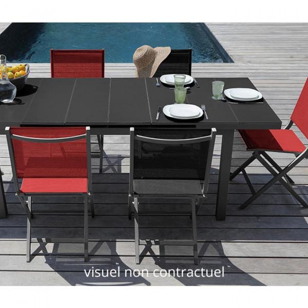 Salon de jardin Alizé Ondine 160 / 213 grise + 6 chaises Thema rouges