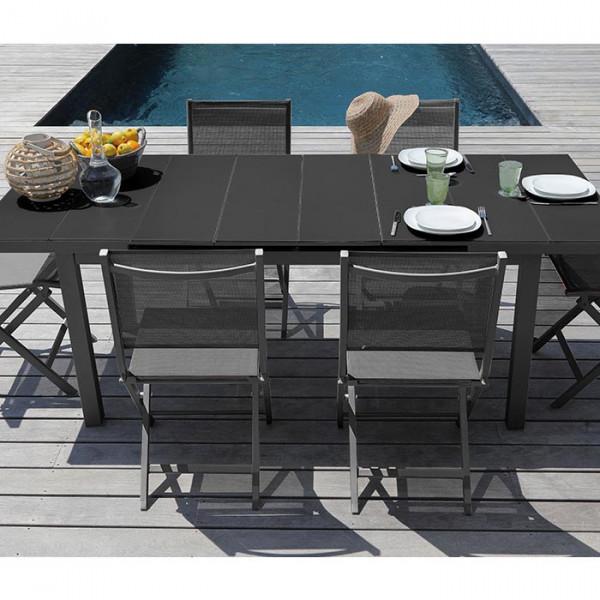 Salon de jardin Alizé Ondine 160 / 213 grise + 6 chaises Thema noires