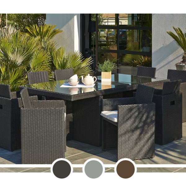 Salon de jardin DCB Encastrable - plateau en verre, 8 personnes + Housse