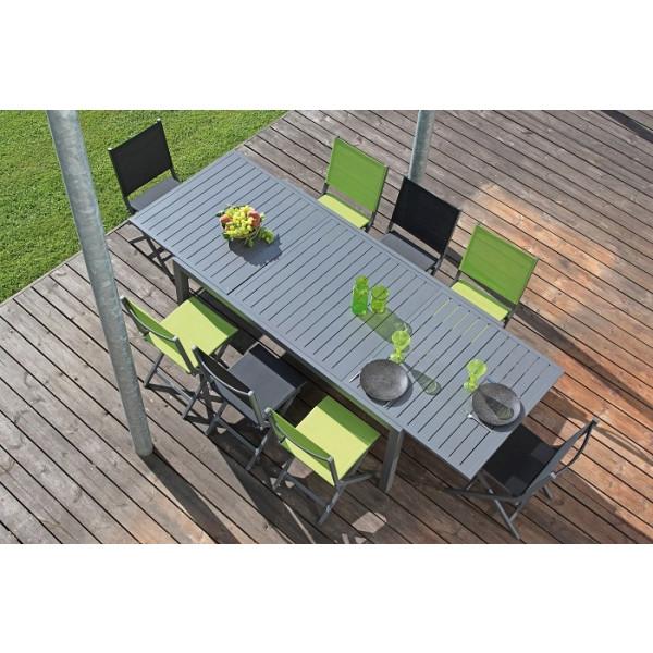Salon de jardin Solem 268 Grise + 6 Chaises Thema Vertes PROLOISIRS