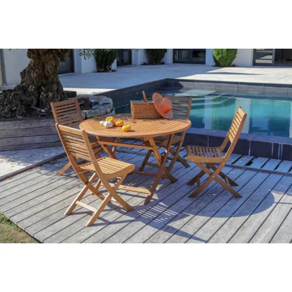 Salon de jardin Sophie 120 + 4 chaises Saturne