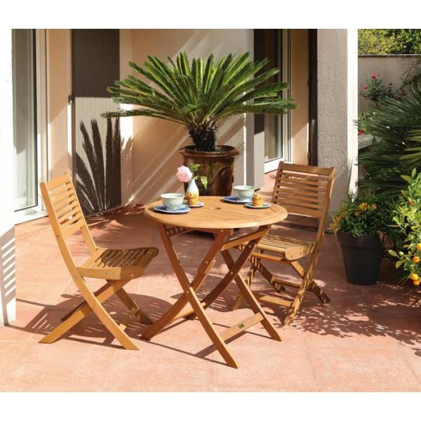 Salon de jardin Sophie 80 + 2 chaises Saturne