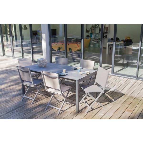 Salon de jardin Soto 180 taupe + 6 chaises pliantes Théma taupes Alizé