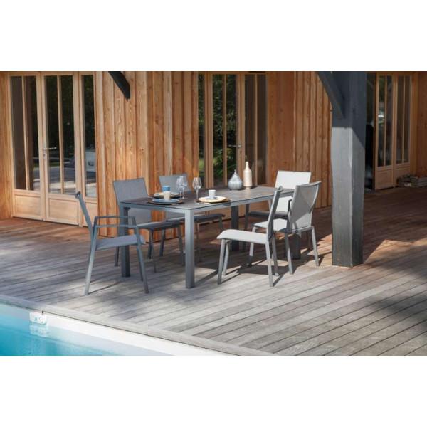 Salon de jardin PROLOISIRS Table Stoneo grise + 6 chaises Palma grises