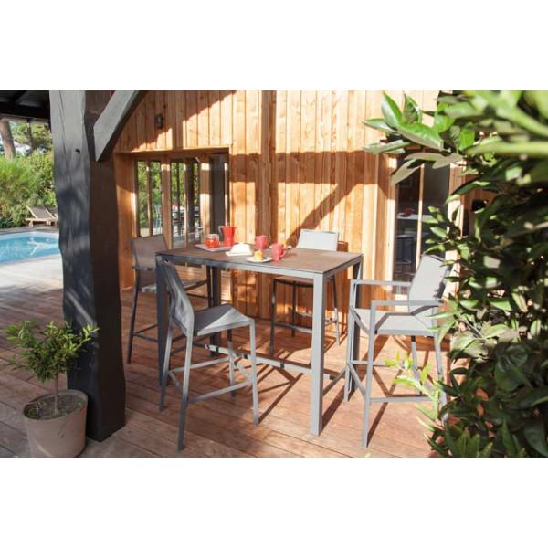 Salon de jardin PROLOISIRS Mange Debout STONEO gris + 4 chaises hautes IDA grises
