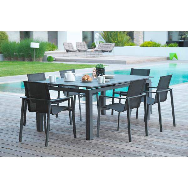 Table de jardin Miami + 6 fauteuils