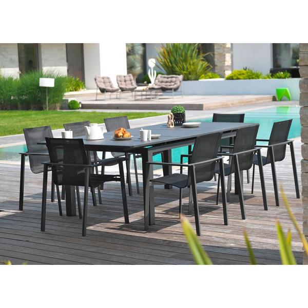 Table de jardin Miami + 8 fauteuils