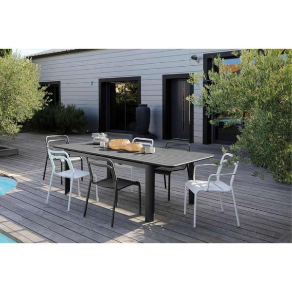 Salon de jardin PROLOISIRS Table EOS 180/240 graphite + 6 fauteuils EOS graphite