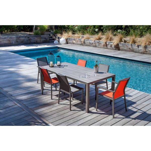 Salon de jardin PROLOISIRS Table Stoneo café + 6 fauteuils IDA café