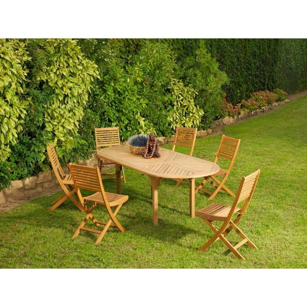 Ensemble repas Table Durban + 6 chaises Saturne ALIZÉ