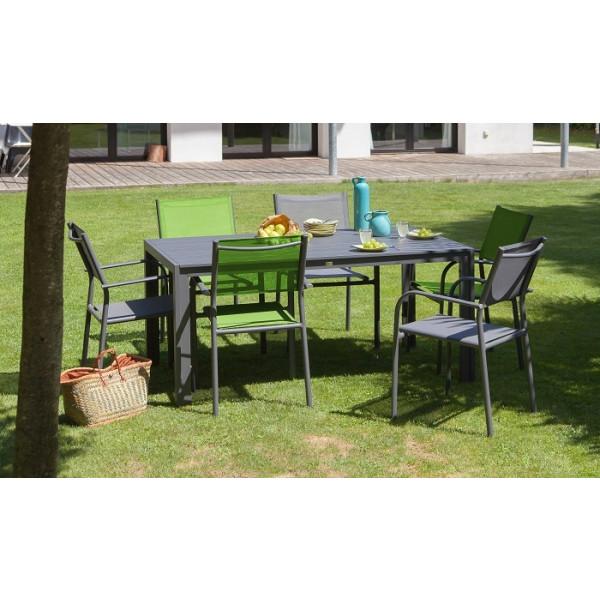 Ensemble repas Table MT 160 Grise + 6 Fauteuils Duca Verts PROLOISIRS