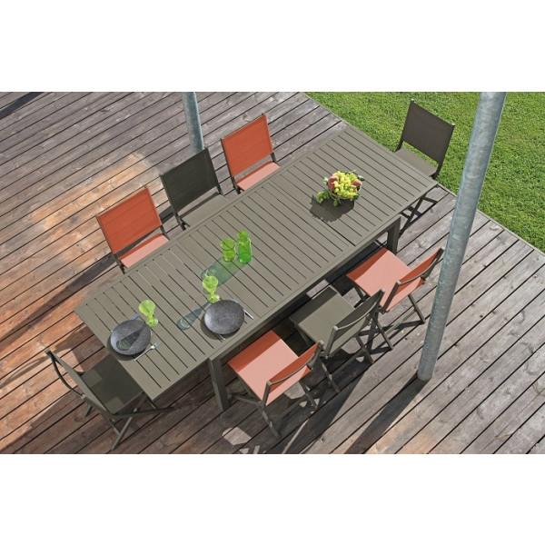 Ensemble repas Table Solem 268 Café + 6 Chaises Thema Oranges PROLOISIRS