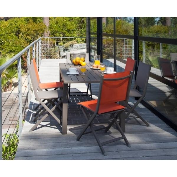 Salon de jardin Trieste 130/180 Café + 6 Chaises Thema PROLOISIRS (3 Cafés / 3 Oranges)