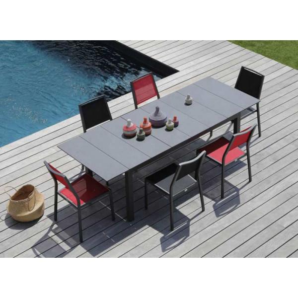 Salon de jardin Tahaa 180/240 grise + 6 chaises Florence rouges Alizé