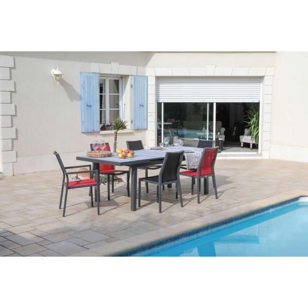 Salon de jardin PROLOISIRS Table Tavera 180/240 + 6 fauteuils IDA rouges