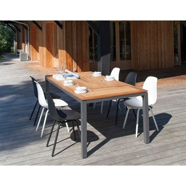 Ensemble repas Table Tempo 180 Grise + 6 Chaises Moss (3 Blanches / 3 Noires) PROLOISIRS
