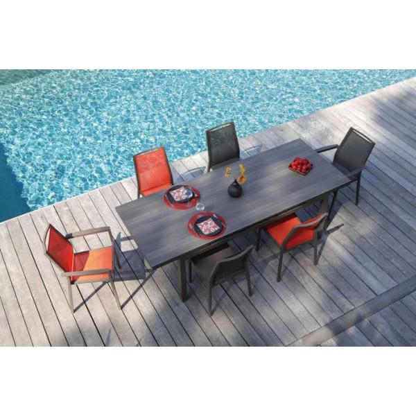Salon de jardin PROLOISIRS Table Teramo 180/235 café + 6 fauteuils IDA paprika